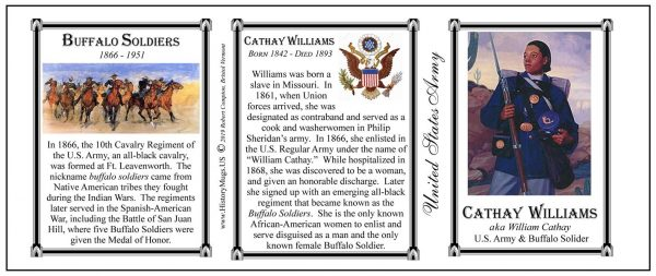 Cathay Williams, Buffalo Soldiers biographical history mug tri-panel.