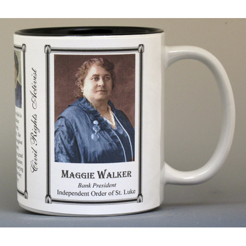 Maggie Lena Walker, Bank president, Civil Rights leader, biographical history mug.