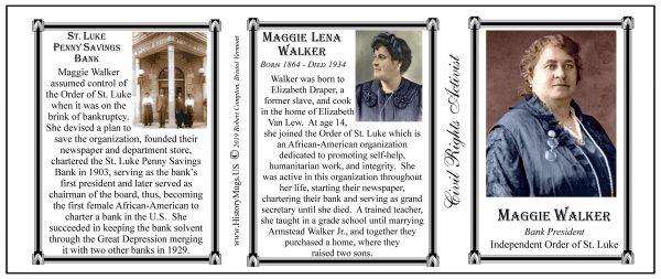 Maggie Lena Walker, Bank President, Civil Rights leader biographical history mug tri-panel.