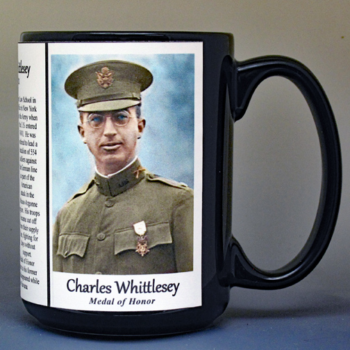 Charles Whittlesey, Medal of Honor, biographical history mug.