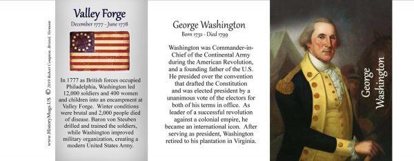 George Washington, Valley Forge history mug tri-panel.