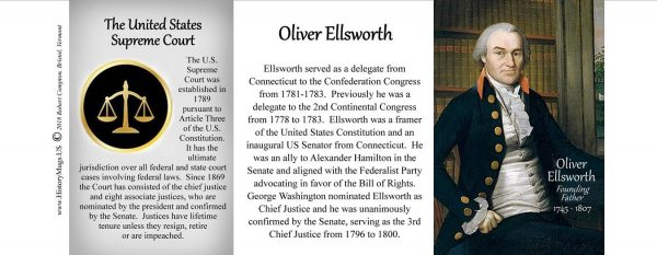 Oliver Ellsworth, US Supreme Court Chief Justice biographical history mug tri-panel.