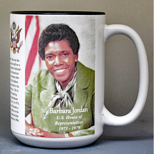 Barbara Jordan, US House of Representatives, biographical history mug.