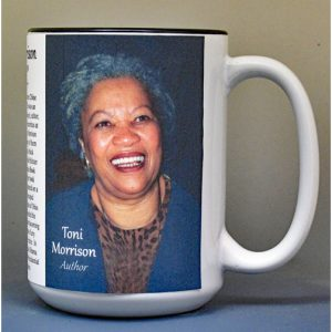 Toni Morrison, author biographical history mug.