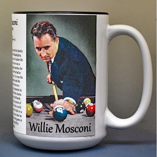 Willie Mosconi, billiards biographical history mug.