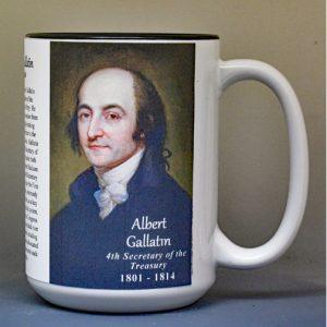 Albert Gallatin, US Secretary of the Treasury biographical history mug.