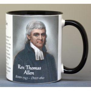 Rev. Thomas Allen Revolutionary War biographical history mug.