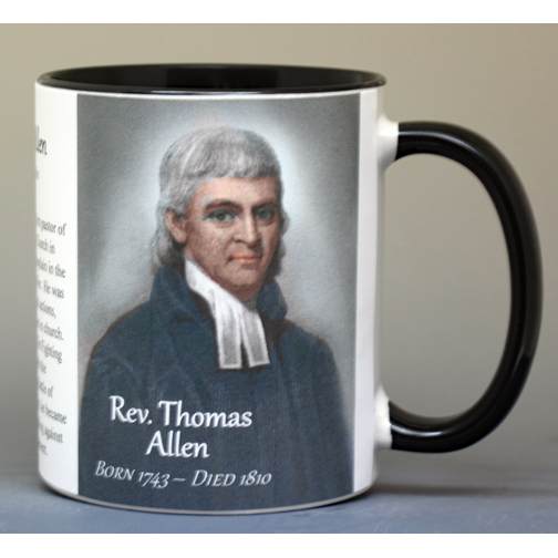 Rev. Thomas Allen, Revolutionary War biographical history mug.