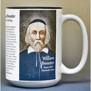 William Brewster, Mayflower passenger biographical history mug.