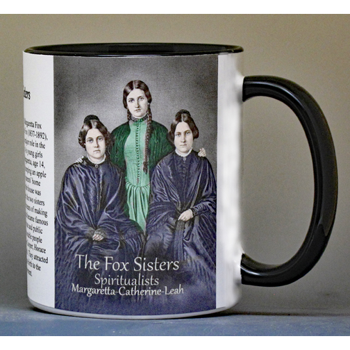 The Fox Sisters, Spiritualism, biographical history mug.