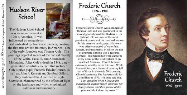 Frederic Church, Hudson River School artist, biographical history mug tri-panel.