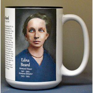 Edna Beard, Vermont House of Representatives biographical history mug.
