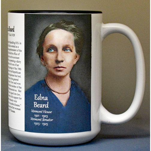 Edna Beard, Vermont's first woman state legislator, biographical history mug.