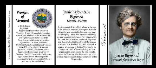 Jessie Lafountain Bigwood, Vermont's first woman lawyer history mug tri-panel.