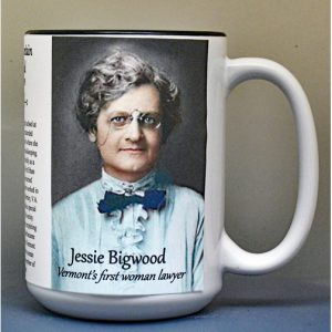 Jessie Lafountain Bigwood, Vermont's first woman lawyer, biographical history mug.