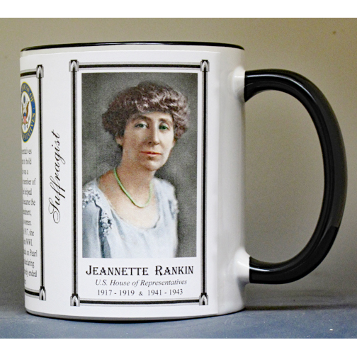 Jeannette Rankin, women's suffrage biographical history mug.