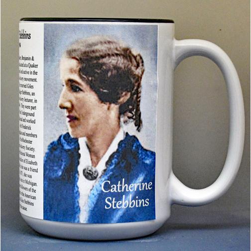Catherine Stebbins, Women's Suffrage biographical history mug.