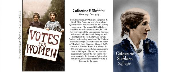 Catherine Stebbins, Women's Suffrage biographical history mug tri-panel.
