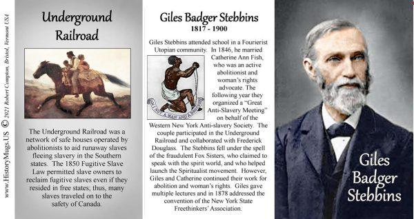Giles Badger Stebbins, Abolitionist biographical history mug tri-panel.