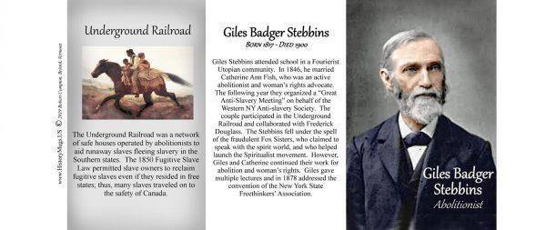 Giles Badger Stebbins, abolitionist history mug tri-panel.