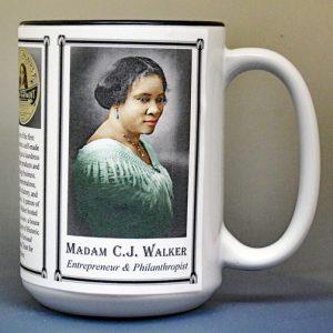 Madam C.J. Walker, Entrepreneur, Walker Manuf. biographical history mug.