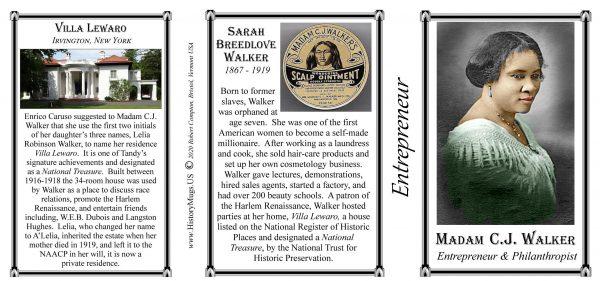 Madam C.J. Walker, Entrepreneur, Villa Lewaro biographical history mug tri-panel.