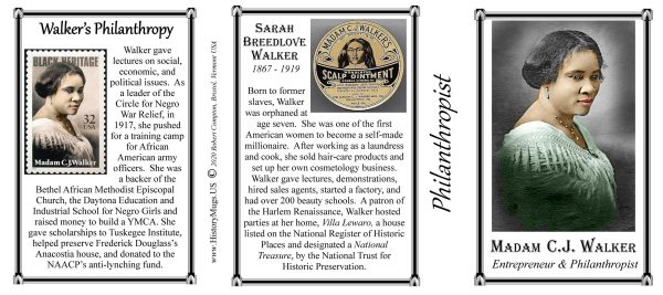 Madam C.J. Walker, Philanthropist biographical history mug tri-panel.