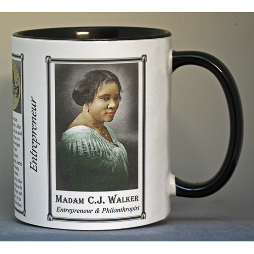 Madam C.J. Walker, entrepreneur, biographical history mug.