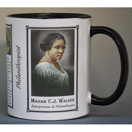 Madam C.J. Walker, Philanthropist biographical history mug.