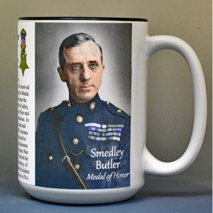 Smedley Butler, Marine Corps officer, World War I, Medal of Honor recipient, biographical history mug.