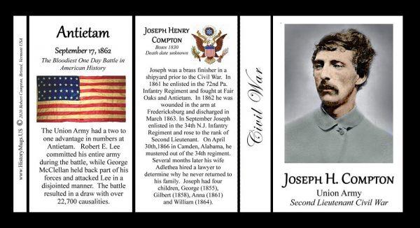 Joseph Compton, Civil War Union Army history mug tri-panel.