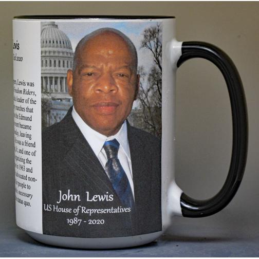 John Lewis, US Representative & Civil Rights Leader biographical history mug.