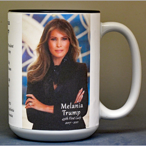 Melania Trump, 45th First Lady biographical history mug.