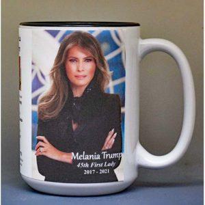Melania Trump, US First Lady biographical history mug.