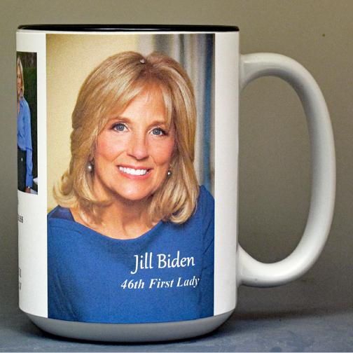 Jill Biden, 46th US First Lady biographical history mug.