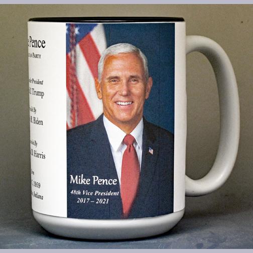 Mike Pence, 48th US Vice President biographical history mug.