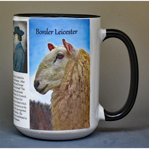 Border Leicester Sheep biographical history mug.