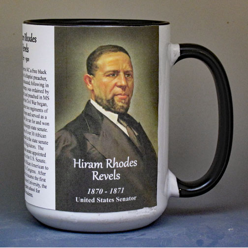 Hiram Rhodes Revels, US Senator, biographical history mug.