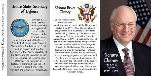Richard Cheney, US Secretary of Defense biographical history mug tri-panel.