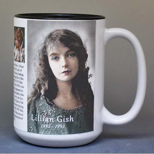 Lillian Gish biographical history mug.