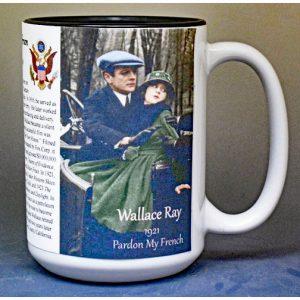 Wallace Ray, silent film biographical history mug.
