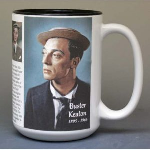 Buster Keaton, motion picture actor biographical history mug.