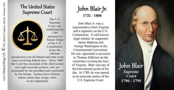 John Blair, US Supreme Court Justice biographical history mug tri-panel.