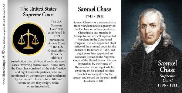 Samuel Chase, US Supreme Court Justice biographical history mug tri-panel.