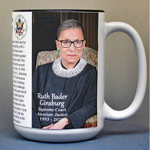 Ruth Bader Ginsberg biographical history mug.