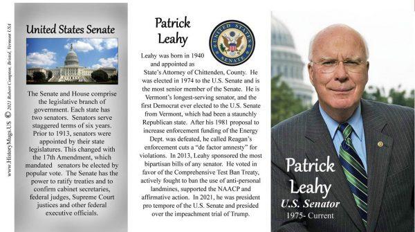 Patrick Leahy, US Senator biographical history mug tri-panel.