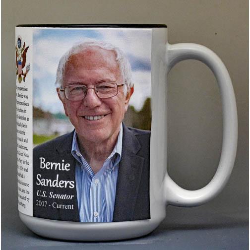 Bernie Sanders biographical history mug.