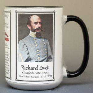 Richard Ewell, US Civil War Lieutenant General C.S.A. biographical history mug.