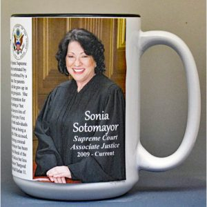 Sonia Sotomayor, Supreme Court Justice biographical history mug.