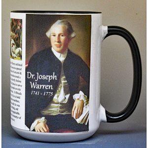 Dr. Joseph Warren, doctor and Revolutionary War patriot biographical history mug.